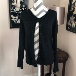 🎉 Eddie Bauer Black Cable Knit Cardigan Sweater